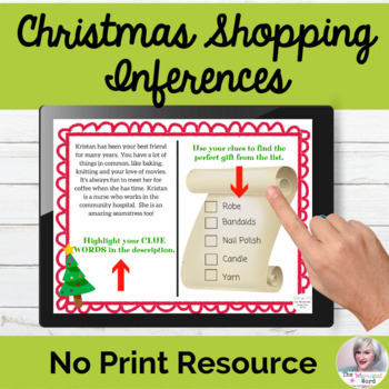 Christmas Shopping Inferences NO PRINT Holiday Digital Teletherapy