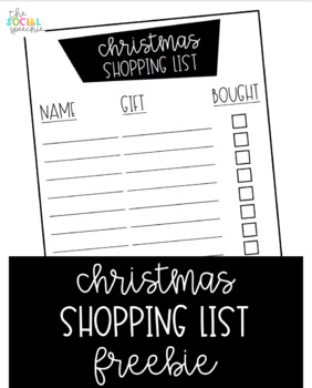 Christmas Shopping List Freebie