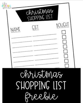 Christmas Shopping List Freebie