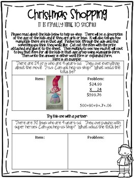 Christmas Shopping- Project Based Learning Place Value and Multiplication