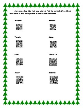 Christmas Shopping Project - QR codes are optional for shopping