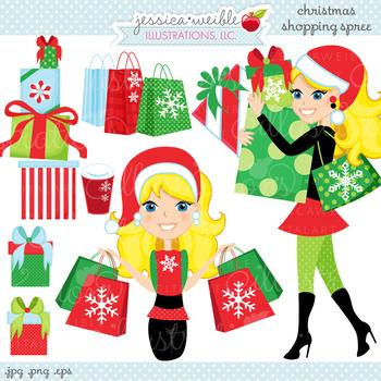 Christmas Shopping Spree BLONDE - Cute Digital Clipart, Christmas Graphics