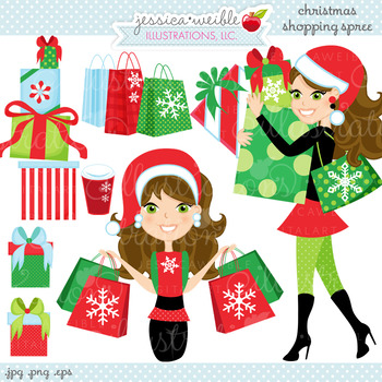Christmas Shopping Spree BRUNETTE - Cute Digital Clipart, Christmas Graphics