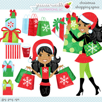 Christmas Shopping Spree DARK - Cute Digital Clipart, Christmas Graphics