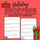 Christmas Shopping Worksheet: Percents - Tax, Tip, Commission, and Discounts