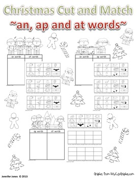 Christmas Short a Cut and Match - an, ap, and at words