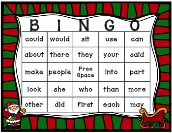 Christmas Sight Word Bingo 1st 100 fry words