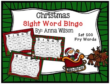 Christmas Sight Word Bingo 1st 100 fry words