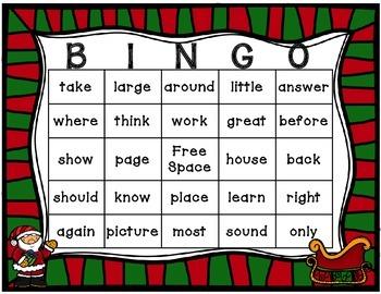 Christmas Sight Word Bingo 2nd 100 fry words
