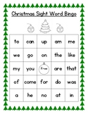 Christmas Sight Word Bingo