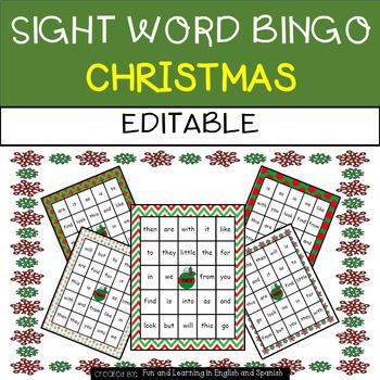 Christmas: Sight Word Bingo - Editable