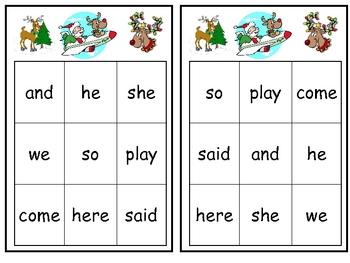 Christmas Sight Word Bingo Games- Set of 3 for Kindergarten
