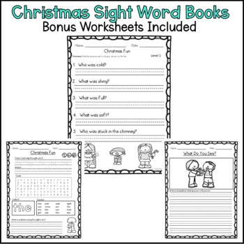 Christmas Sight Word Books with Parts of Speech Focus