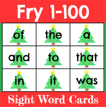 Christmas Sight Word Cards Fry 1-100