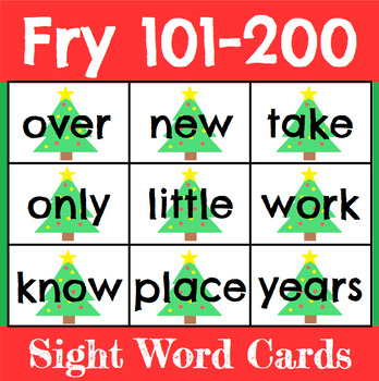 Christmas Sight Word Cards Fry 101-200