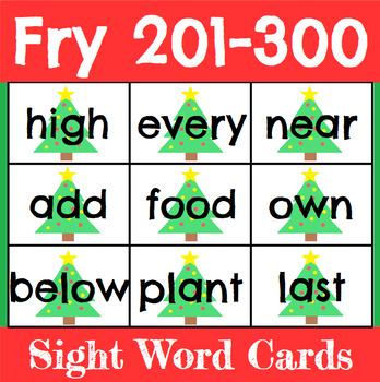 Christmas Sight Word Cards Fry 201-300