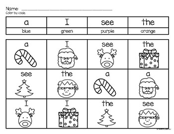 Christmas Sight Word Color by Code PRE PRIMER EDITION