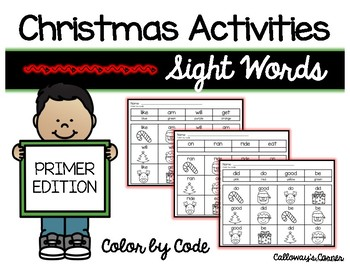 Christmas Sight Word Color by Code PRIMER EDITION