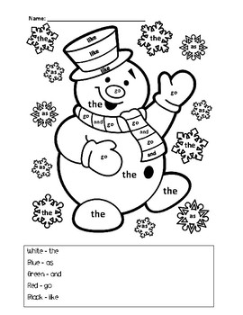 Christmas Sight Word Coloring Pages