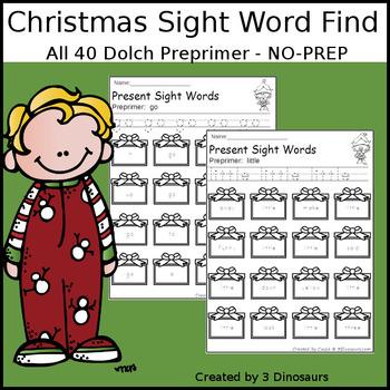 Christmas Sight Word Find: Preprimer