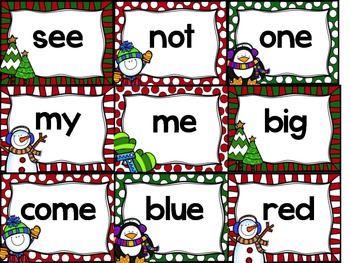 Christmas Sight Word Flash Cards