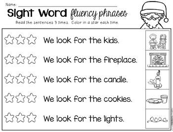 Christmas Sight Word Fluency Phrases