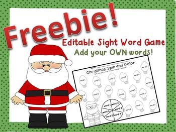 Christmas Sight Word Game FREEBIE {Editable!}
