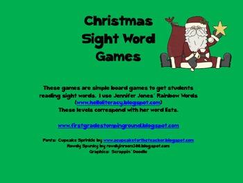 Christmas Sight Word Games