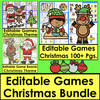 Christmas Sight Word Games BUNDLE:  Editable for Your Own Lists 180+ Pages
