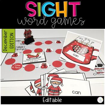 CHRISTMAS ACTIVITIES SIGHT WORD GAMES EDITABLE