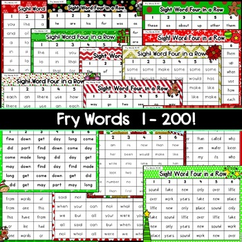 Christmas Sight Word Games: Four in a Row [[Fry Words 1-200]]