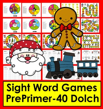 Christmas Activities Sight Word Games - PrePrimer - First 40 Dolch