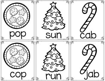 Christmas Sight Word & CVC Word Games (Editable)