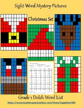 Christmas Sight Word Mystery Pictures Grade 1 dolch list
