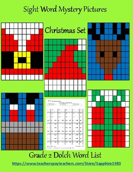 Christmas Sight Word Mystery Pictures Grade 2 dolch list