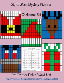 Christmas Sight Word Mystery Pictures pre-primer dolch list