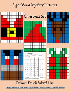 Christmas Sight Word Mystery Pictures primer dolch list