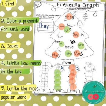 Christmas Sight Words Activity {Graphing Presents}FRY 1-100 Sight Words