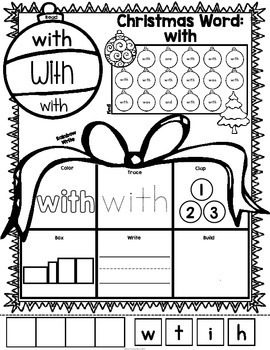 Christmas Sight Words Fry's First 100 {Print and Go}