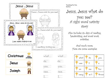 """Christmas Sight Words Literacy Unit, """"Jesus What Do You See"""""""
