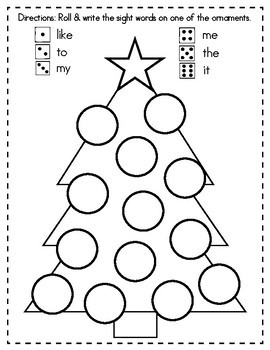 Christmas Sight Words- Roll and Write