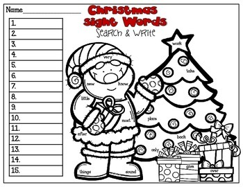 Christmas Sight Words: Search & Write FREEBIE