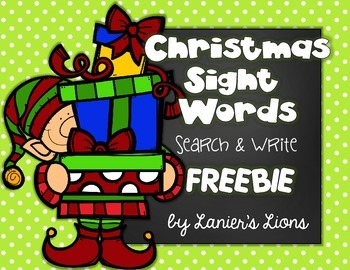 Christmas Sight Words: Search & Write FREEBIE