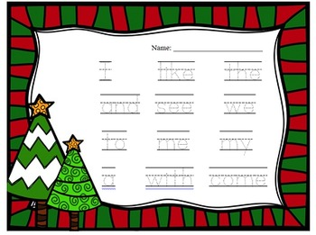 Christmas Sight Words for Kindergarten - Journeys - Write/Trace the Room