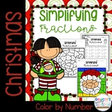 Christmas Simplifying Fractions Color by Number