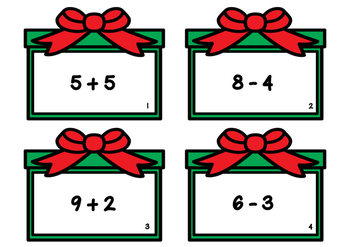 Christmas Single Digit Addition and Subtraction Task Cards
