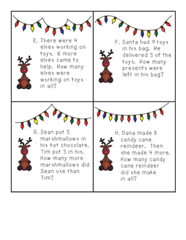 Christmas Single-Digit Addition and Subtraction Word Problem Task Cards