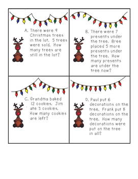 Christmas Single-Digit Addition and Subtraction Word Probl