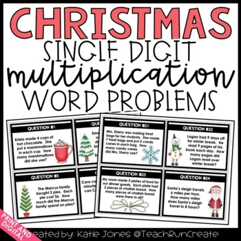 Christmas Single Digit Multiplication Word Problem Task Cards