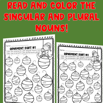 Christmas Singular and Plural Noun Worksheets (4 in 1)
